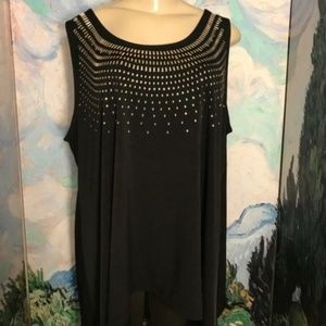 Chelsea &Theodore 3X Black Studded Tunic Tank Top